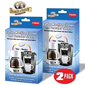 Parker & Bailey Coffee Machine Cleaner & Descaler Tablets - 2 Pack / (8 Total Tablets/8 Uses) for Keurig Single Cup, Jura, Miele, Bosch, Tassimo Espresso Machines, and Traditional Coffee Makers