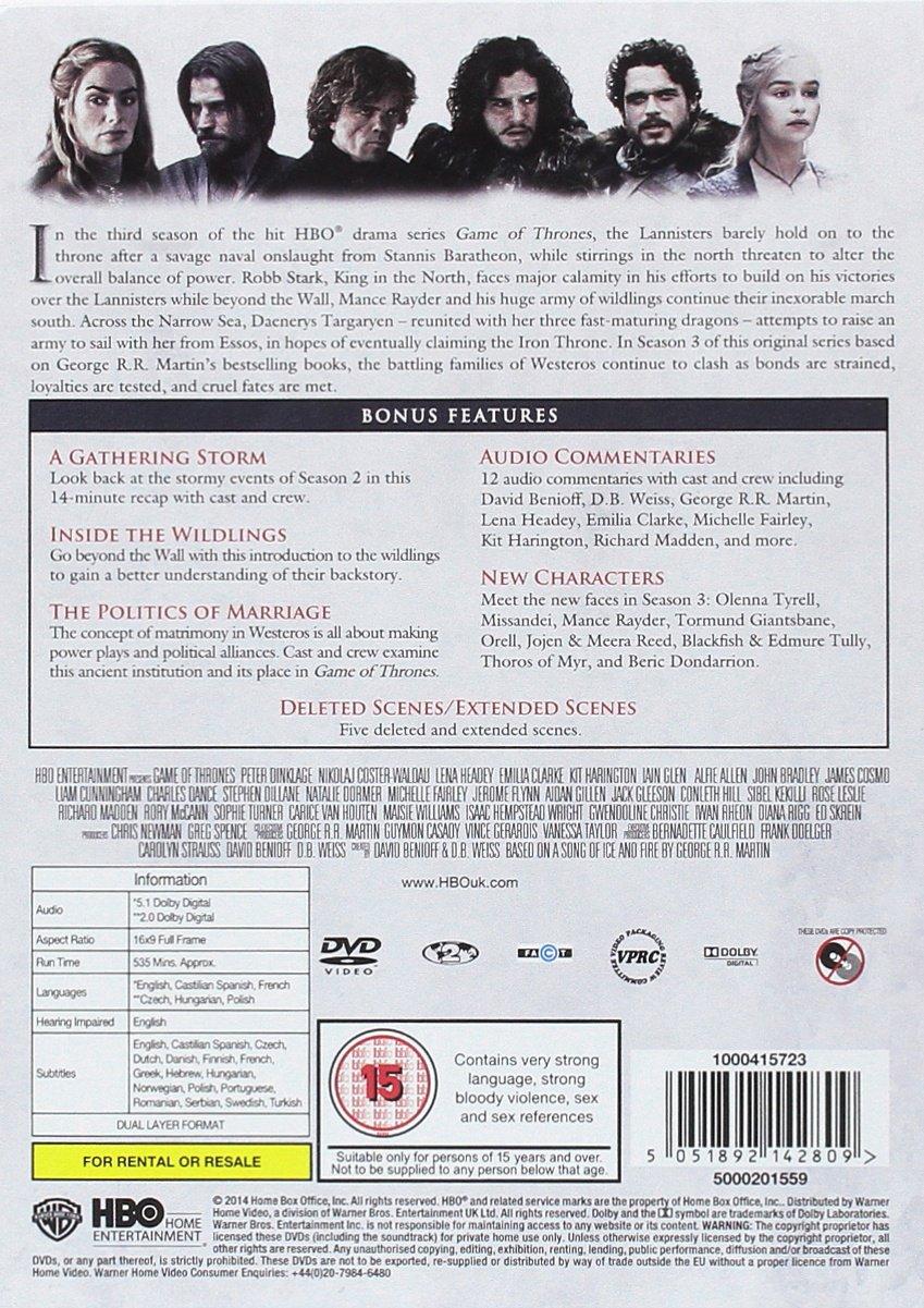 Game of Thrones - Season 3 [DVD] [2017] [2014]: Amazon co uk