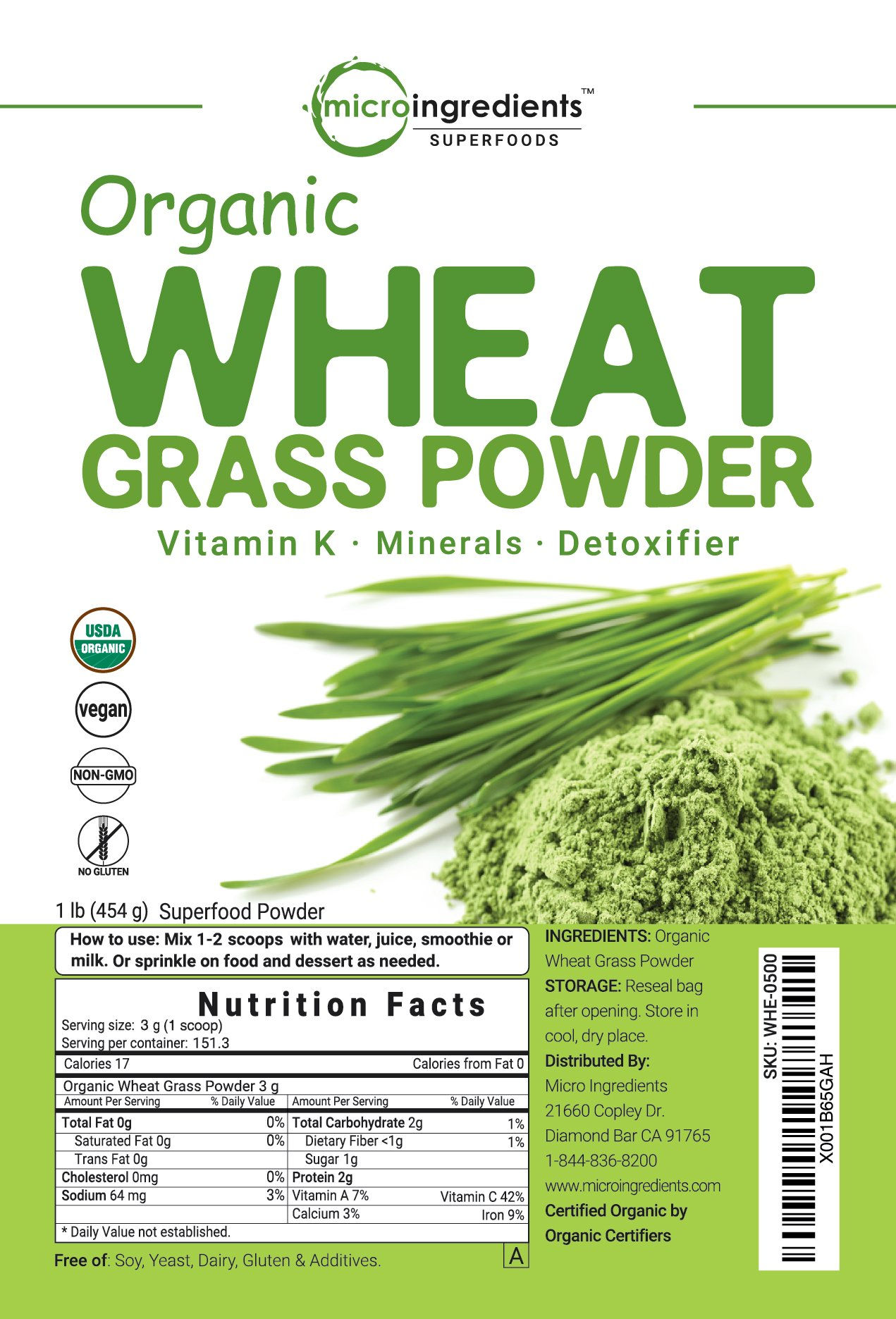 Sustainably US Grown, Organic Wheat Grass Powder, 150 Serving (1 Pound), Rich Fiber, Chlorophyll, Antioxidants, Essential Amino Acids, Fatty Acids, Minerals & Vitamins. Best Vegan & Non-GMO SuperFoods by Micro Ingredients (Image #6)