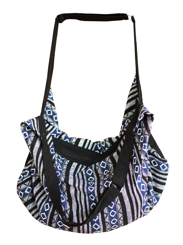 Thai Bag Tribal Bag Hmong Bag Boho Bag Striped Bag Ethnic Striped Thai Cotton Boho Sling Tribal Crossbody Bag Backpack Shoulder Bag Thai Pattern Bag Thai Top Zip Handmade Asia Bag (Stripe Black)