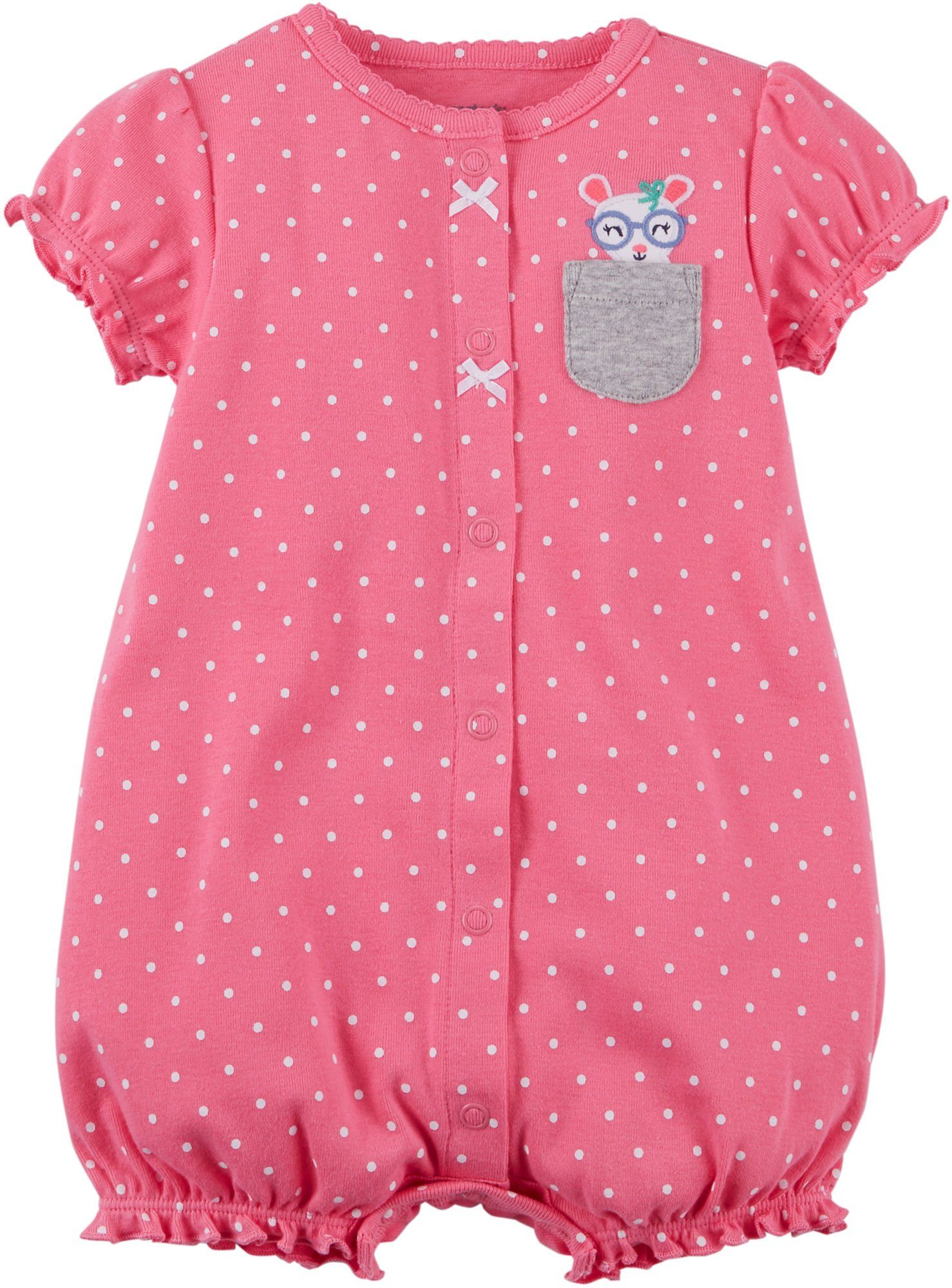 1ec31f63825 Galleon - Carter s Baby Girls  Dotted Mouse Pocket Snap Up Cotton Romper 6  Months