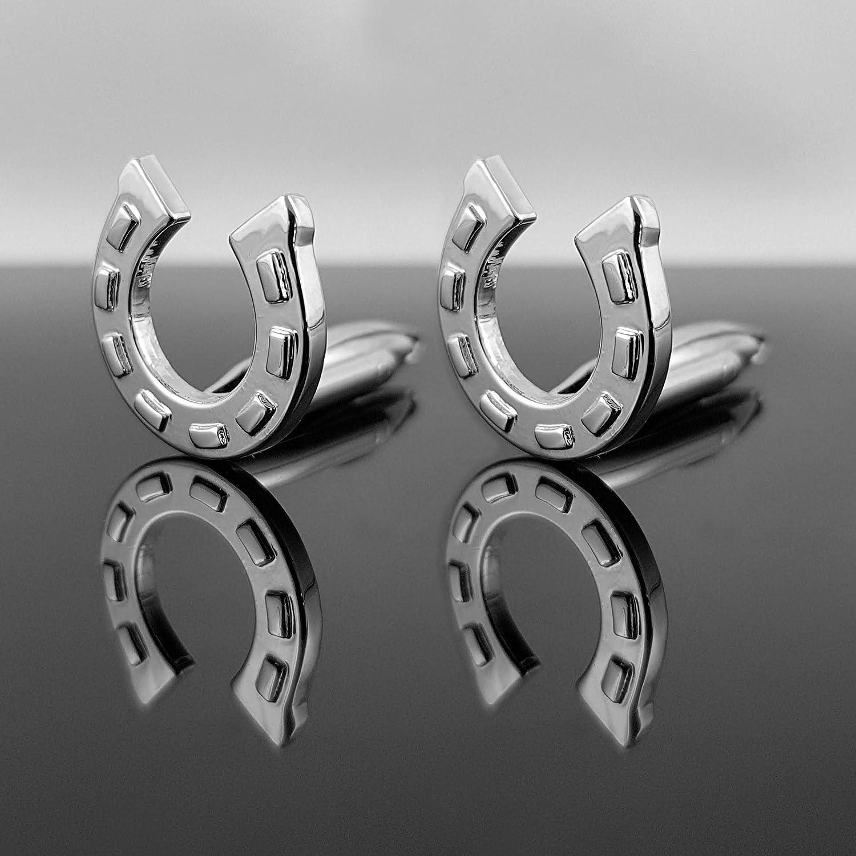 sport de cheval vendeur allemand Mind Care Boutons de manchette en acier inoxydable pour homme avec bo/îte cadeau Luck horseshoe de jouets argent bonheur /équitation Essentials. style classique