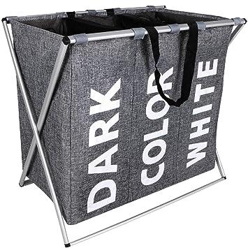 Amazon.com: WIFUME Cesta para la ropa sucia con 3 secciones ...