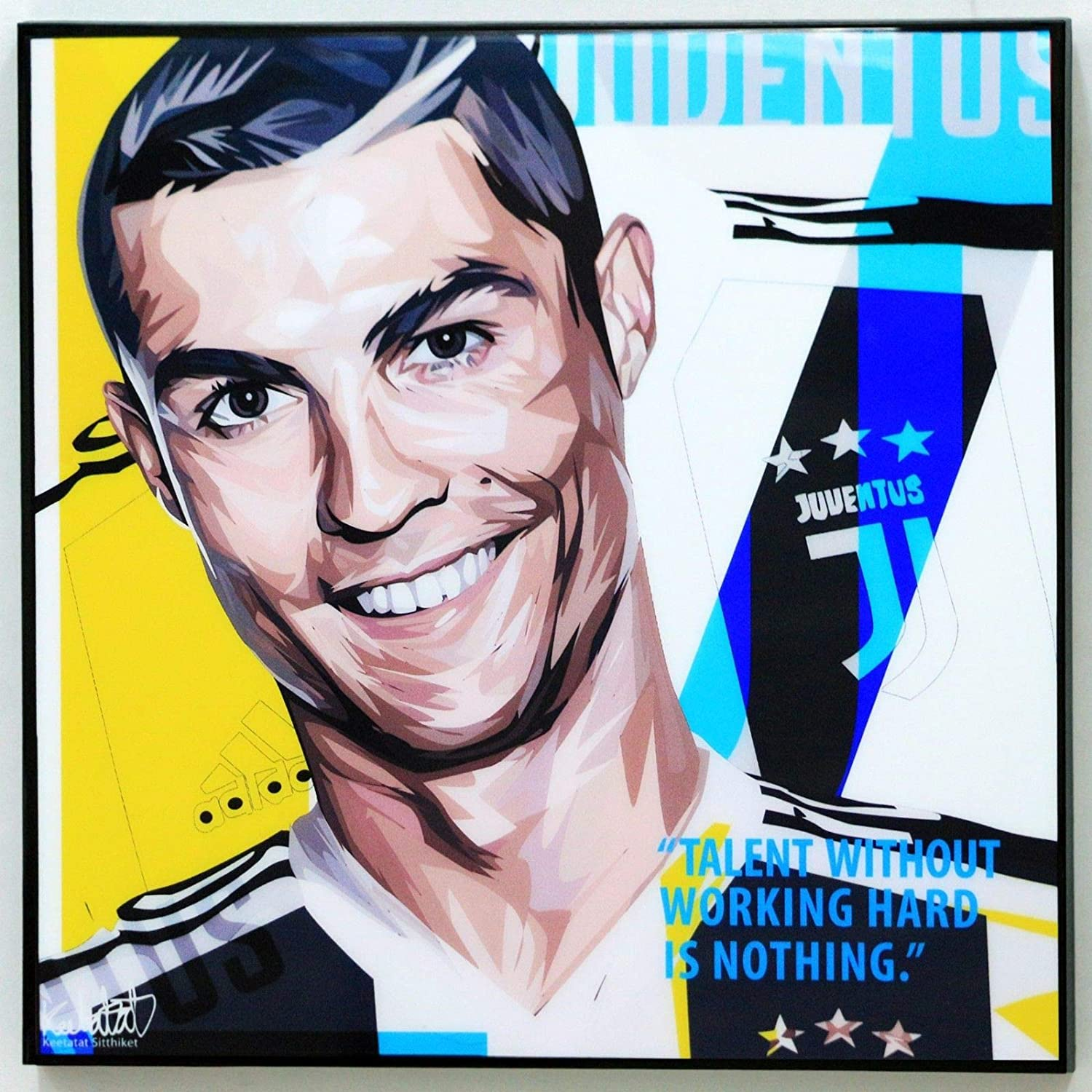 Cristiano Ronaldo Juventus Poster CR7 Canvas Quotes Wall Decals Painting Framed pop Art Football Soccer