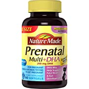 Nature Made Prenatal + DHA 200 mg Softgels - Rich in Folic Acid, Iron, Iodine & Zinc Value Size 90 Ct