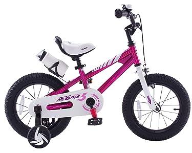 side facing fuchsia royalbaby bmx kids bike