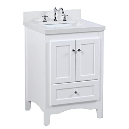 Abbey 24 Inch Bathroom Vanity Quartz White Includes A
