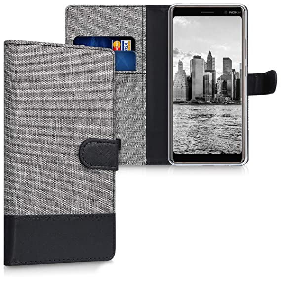 low priced 1bb49 5410a kwmobile Wallet Case for Nokia 7 Plus - Fabric and PU Leather Flip Cover  with Card Slots and Stand - Grey/Black