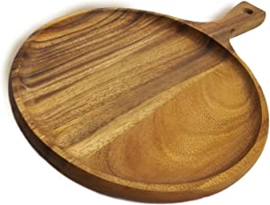 RoRo Acacia Wood Round Tray for Small Pizzas and Appetizers, 10 x 10 Inch