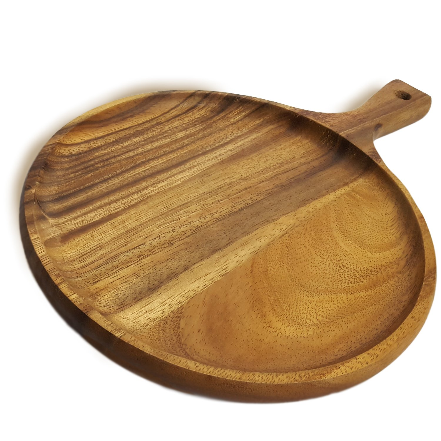 RoRo Acacia Wood Round Tray for Small Pizzas and Appetizers, 14 x 10 Inch Pankesum RRoPiz1001