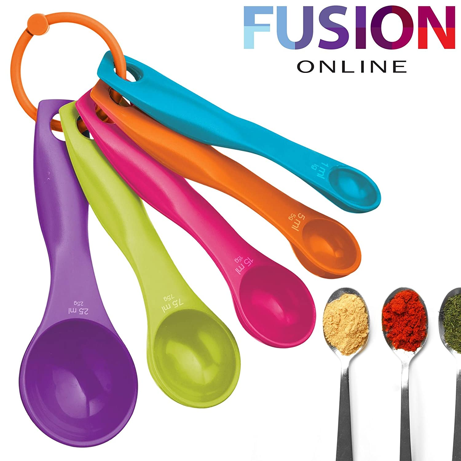 5 PCS PLASTIC MEASURING SPOONS SET COLOURFUL KITCHEN UTENSIL COOKING BAKING TOOL Evelyn Living
