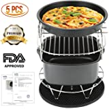 Air Fryer Accessories, Air Fryer Parts for Phillips and Gowise Deep Hot Air Fryer, Complete Air Fryer Accessories with Cake Barrel, Pizza Pan, Silicone Mat, Skewer Rack, Metal Holder Included.