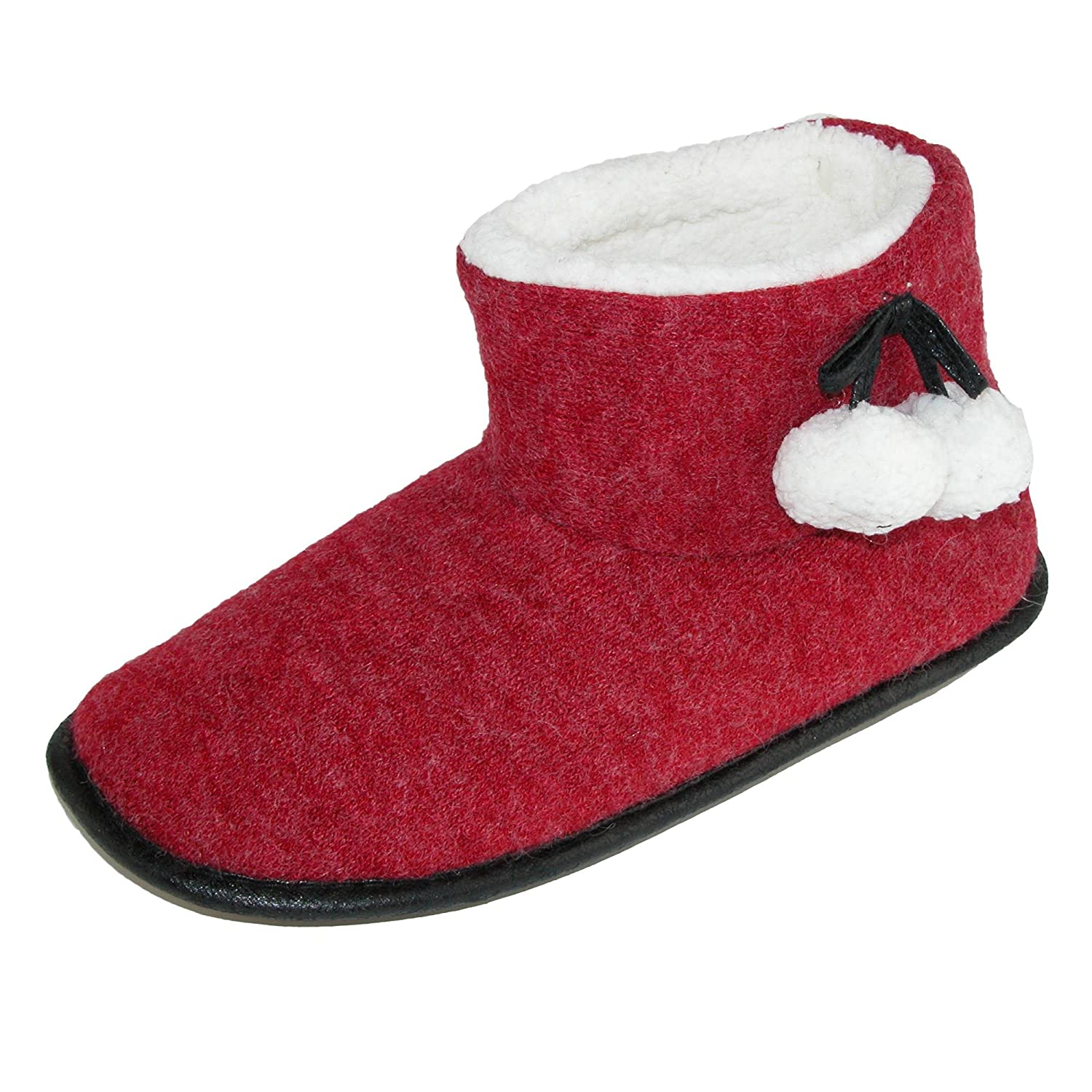 Hanes Women's Alba Heather Spiced Bootie Slipper with Pom Pom