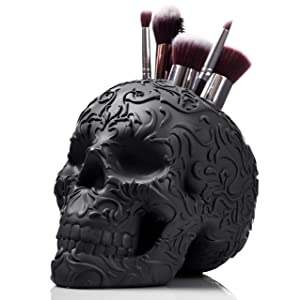 Skull Makeup Brush Holder/Pen Holder/Vanity Desk Office Organizer Stationary Decor Planter (JET BLACK)