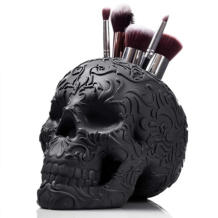 Skull Makeup Brush Holder/Pen Holder/Vanity Desk Office Organizer Stationary Decor Planter (JET BLACK)