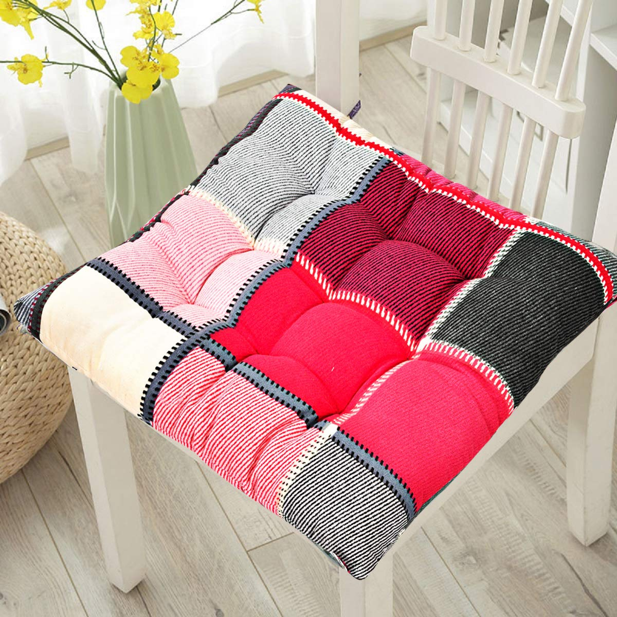"""RRC® Chair Pads w/Ties  8"""" x 8"""" Square, Pack of 8  Extra-Comfortable &  Soft Seat Cushions  Ergonomic Pillows for Rocking, Dining, Patio, Camping,"""