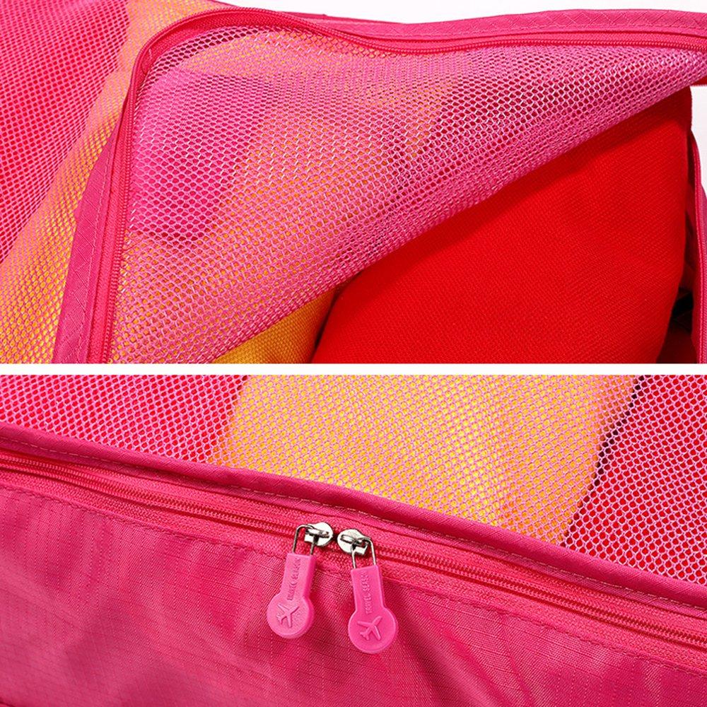 7ef6587f5e Amazon.co.jp 【福美康】 トラベル ポーチ 6点 セット パッキング キューブ オーガナイザー 旅行 出張 整理整頓 アレンジケース  スーツケース インナー バッグ ...