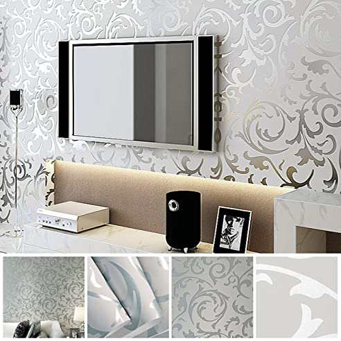 MultiWare 3D Optik Vlies Wand Tapete Vliestapete Barock Rolle Wandtapete  Silber 10M