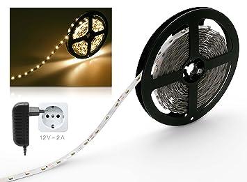 LED Streifen 2m Warmweiß Set Mit Steckernetzteil (LED Strip 2 Meter, 60LED/m
