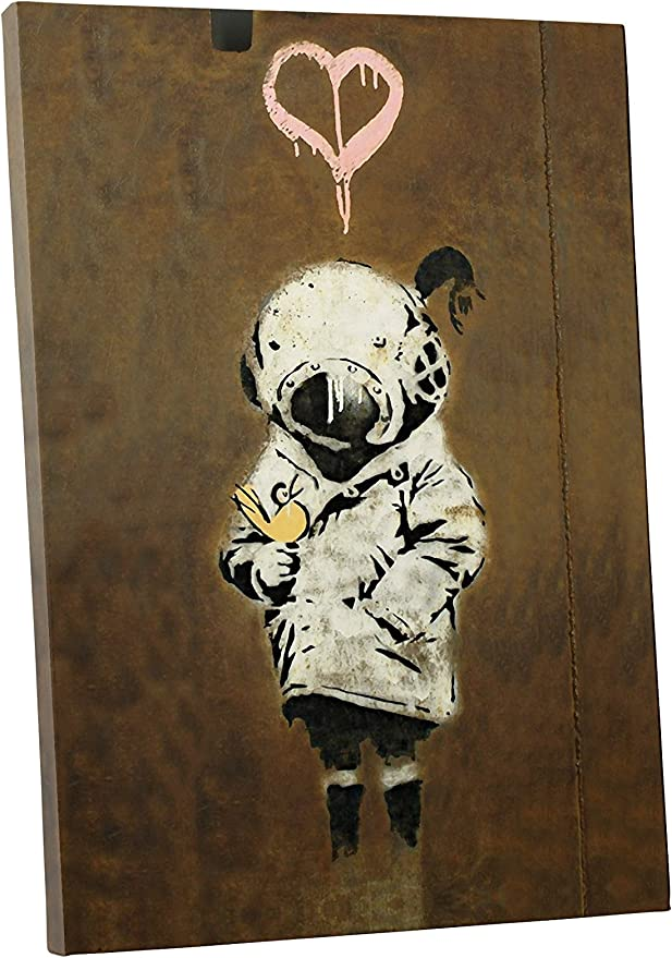 Banksy Aerial Flower Girl Watering Can Canvas Wall Art Print 20x30 inches New UK