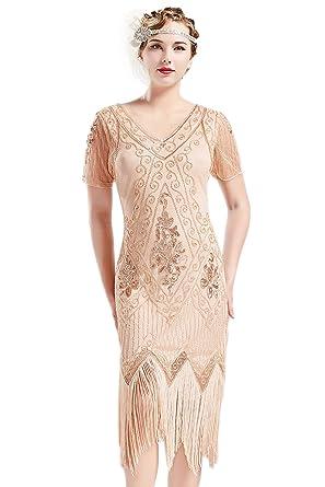 34e283ce31 BABEYOND 1920s Art Deco Fringed Sequin Dress 20s Flapper Gatsby Costume  Dress (Apricot