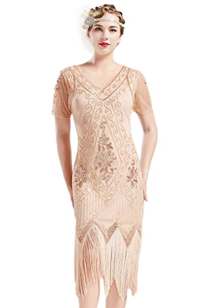 ArtiDeco 1920s Flapper Fringed Sequin Dress Roaring 20s Fancy Dress Gatsby  Costume Dress V Neck Vintage Beaded Evening Dress  Amazon.co.uk  Clothing 0f89acd91325