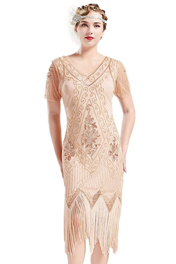 Great Gatsby Dress – Great Gatsby Dresses for Sale BABEYOND 1920s Art Deco Fringed Sequin Dress 20s Flapper Gatsby Costume Dress  AT vintagedancer.com