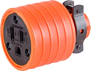 GE 18190 Grounding Heavy Duty Connector with Metal Cord Clamp, Orange