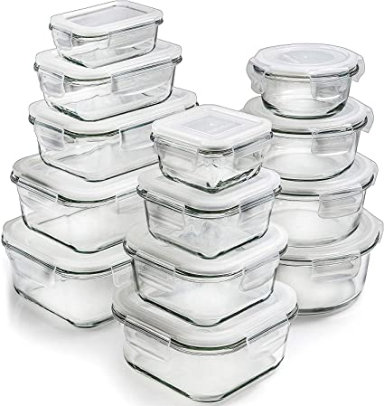 Glass Storage Containers with Lids (13-Pack) - Glass Food Storage  Containers Airtight - Glass Containers with Lids - Glass Meal Prep  Containers Glass ...