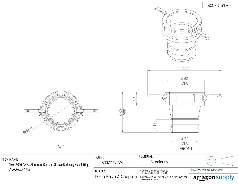 Dixon 2015-DA-AL Aluminum Cam and Groove Reducing Hose Fitting 2 Socket x 1-1//2 Plug 2 Socket x 1-1//2 Plug Dixon Valve /& Coupling