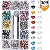 300 Pieces Grommets Kit Metal Eyelets Shoes Clothes Crafts, 10 Colors (3/16 Inch)