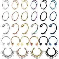LOLIAS 28Pcs 20G Stainless Steel Fake Septum Ring Nose Hoop Ring Faux Lip Ear Non-Pierced Clip On Piercing Jewelry
