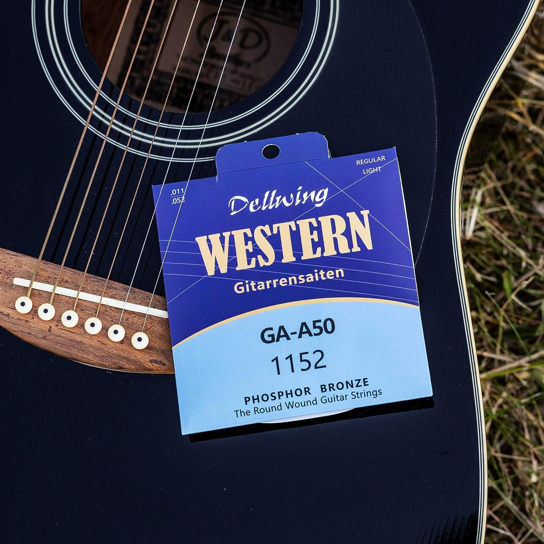 Dellwing Cuerdas guitarra acústica – Cuerdas de acero de primera ...