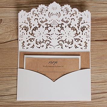 Amazon Com Picky Bride Laser Cut Pocket Wedding Invitations Rustic
