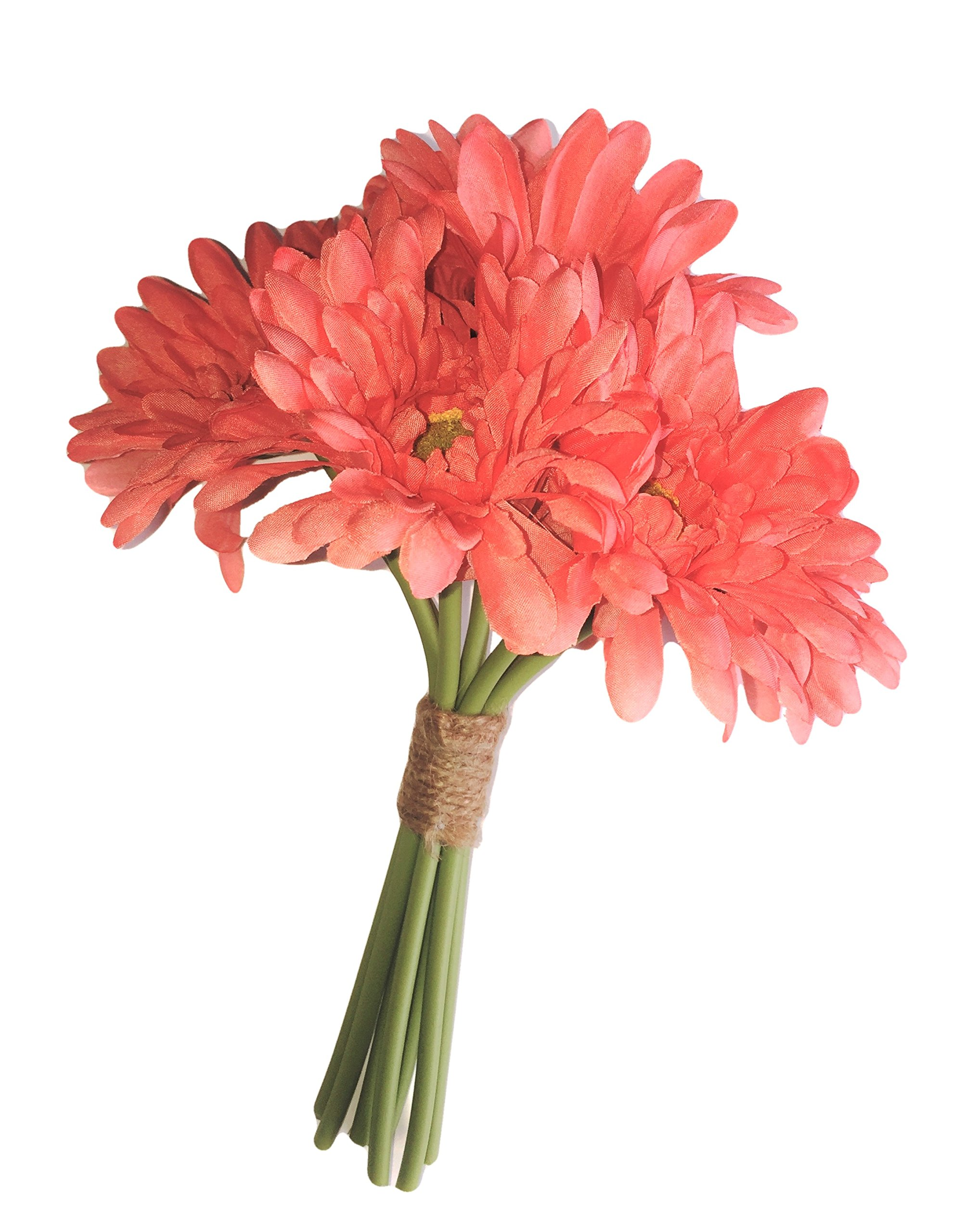 Elegance-Blooms-Things-Silk-Coral-Gerbera-Daisy-Bouquet-Bunch-Nosegay-Bride-Bridesmaid-Floral-Wedding-Home-Decor-Vase-Tabletop-Arrangements-Gifts-DIY-Flowers-Realistic