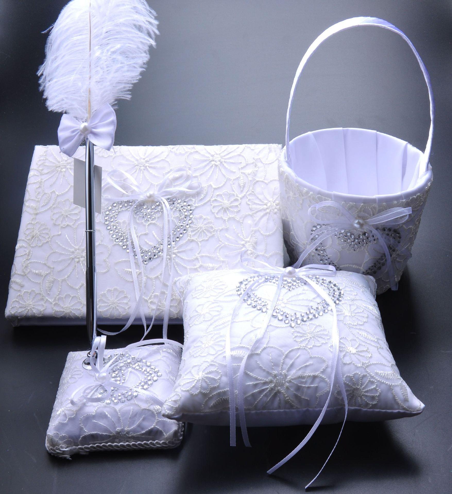 Dollbling Elegant White Lace Heart Rhinestones Decor Wedding Flower Girl Basket + Ring Pillow +Guest Book + Pen Holder Set