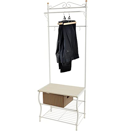 Entryway White Metal Storage Bench And Coat Rack / Organizing Hanger Stand  W/ Hanging Hooks