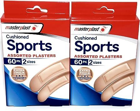 Tiritas acolchadas deportivas surtidas – 120 en total – Caja contiene 2 tamaños: Amazon.es: Salud y cuidado personal