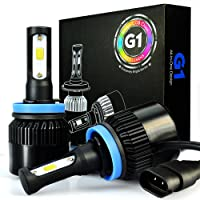 JDM ASTAR G1 8000 Lumens Extremely Bright COB Chips H11 H9 H8 All-in-One LED Headlight Bulbs Conversion Kit, Xenon White