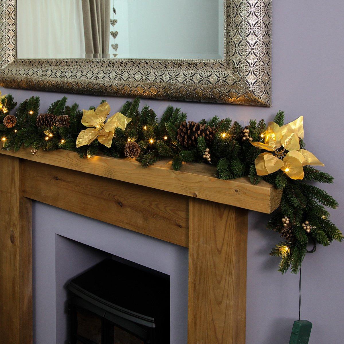 Gold Außen Innen Beleuchtete Weihnachtsgirlande, batteriebetrieben, mit Weihnachtssternen und Kiefernzapfen, 1,8m, von Festive Lights (Gold)