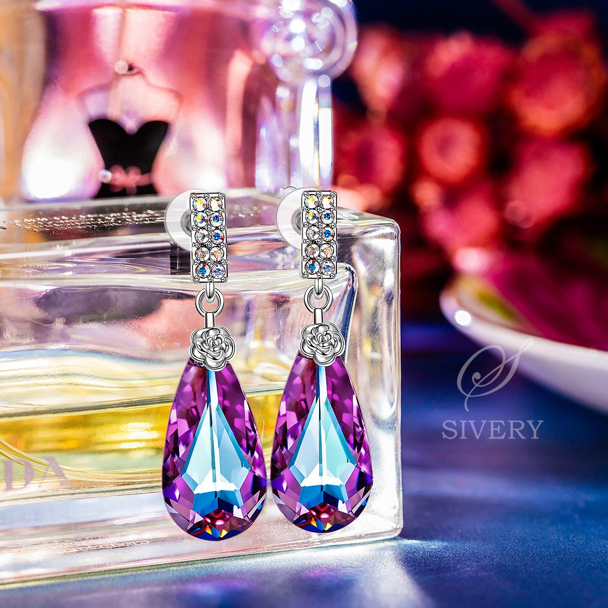 SIVERY 'Teardrop of Angel' Stud Dangle Earrings with Purple Swarovski Crystals, Jewelry for Women Gifts for Mom by S SIVERY (Image #4)