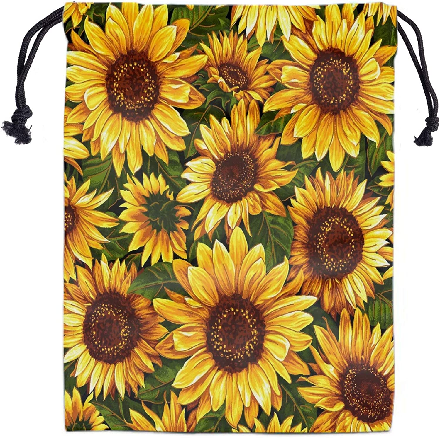 Sunflowers Drawstring Storage Bag Gym - Girls Grip Bags for Gymnastics Lightweight Dance Drawstring Bags Pouch Shoe Bags Laundry Pouches for Travel Adjustable Waterproof Polyester Towel Bag for Yoga