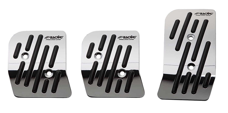 Simoni Racing 980/X Raceway Chrome Aluminium Pedals with Nonslip Rubber, Black Rubber, Set of 3