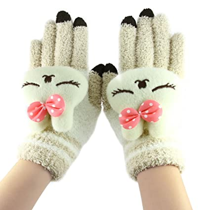 4e49e3f1b Cute Animal Magic Touch Screen Gloves, Women Kids Girls Boys Winter Warm  Cozy Wool Knit