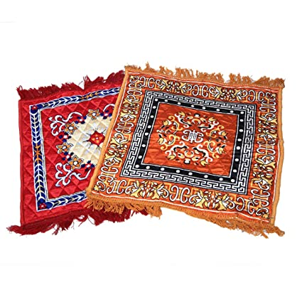 Kuber Industries Velvet Pooja Mat Set of 2 Pcs- 24 x 24, Multicolour