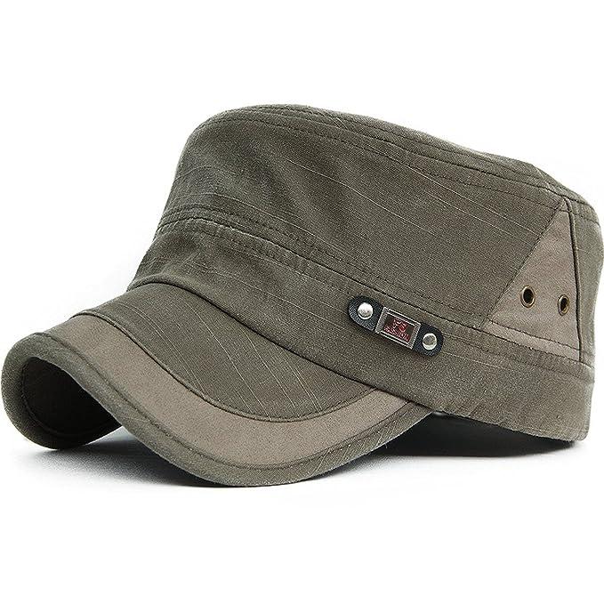 b60ee57cdf6 King Star Men Summer Flat Top Army Cadet Style Military Hat Baseball Cap  Army Green