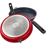 Kitch & Caboodle - Non-Stick Aluminum Double Frying Pan - 2 Detachable Pans for Flipping and Tossing Pancakes, Eggs, Omelettes, Frittatas, Stir Fry - Latches Shut, Works with Induction Stoves