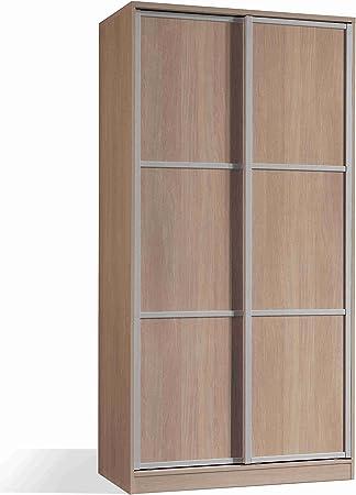 Armario ropero Color Cambrian de 2 Puertas correderas, estantes Regulables, molduras Decorativas para Dormitorio. 200cm Alto x 100cm Ancho x 55cm Fondo: Amazon.es: Hogar