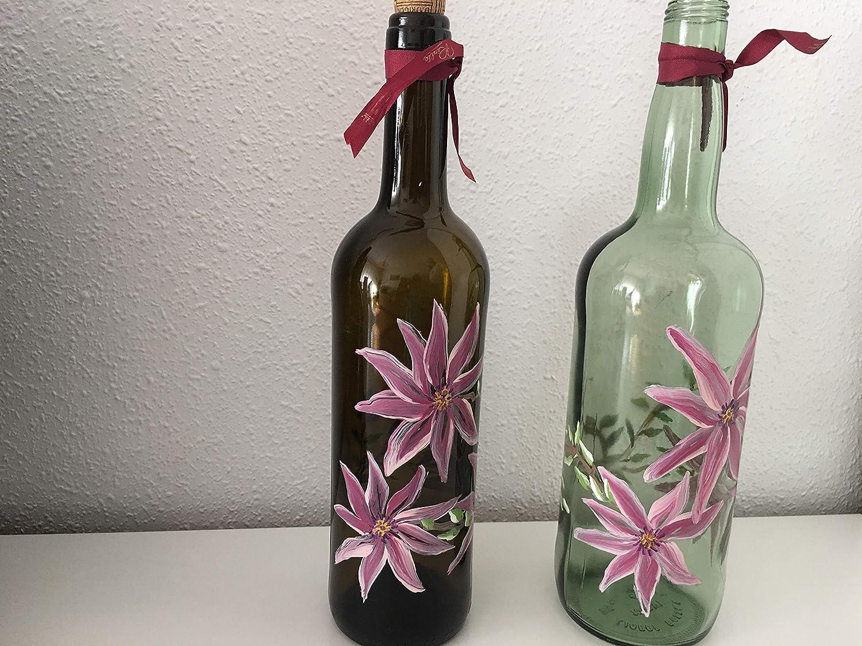 MaJe ceramista botellas decoradas con flores rosas clematis negra y blanca.: Amazon.es: Handmade