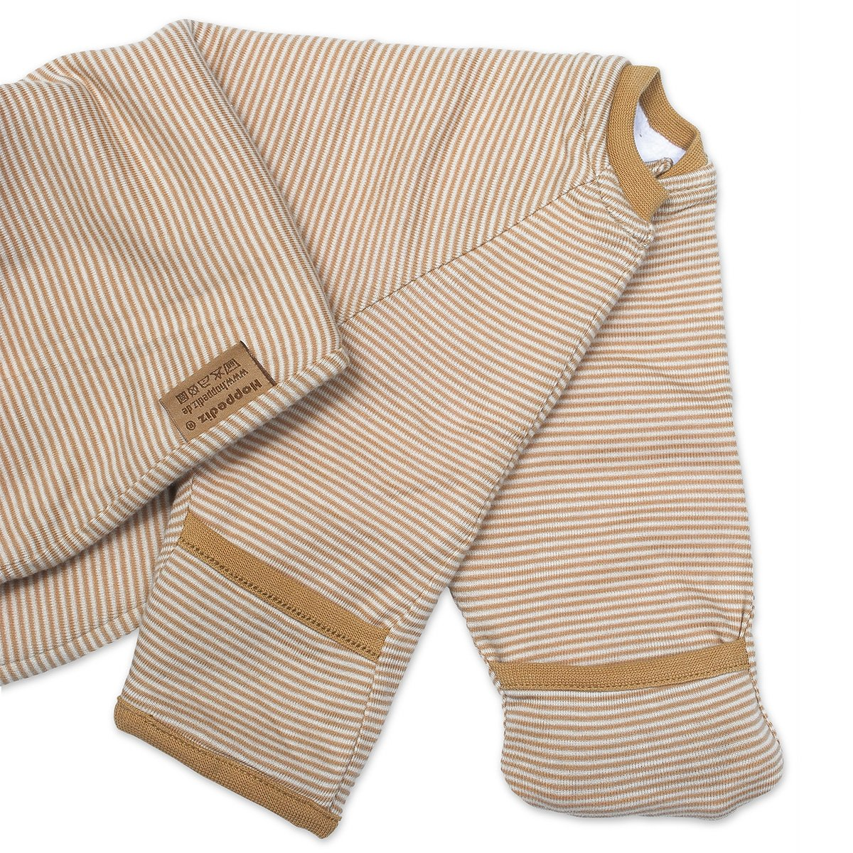Hoppediz Baby-Schlafsack 56-62 gelb gestreift mit Gurtschlitz